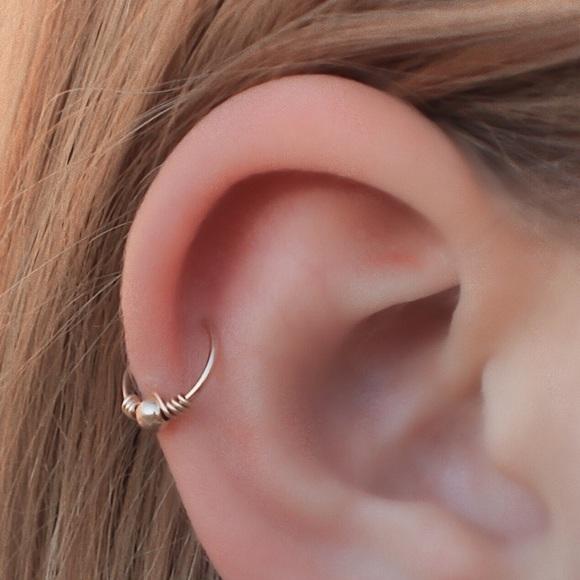 Wire wrapped helix hoop earring